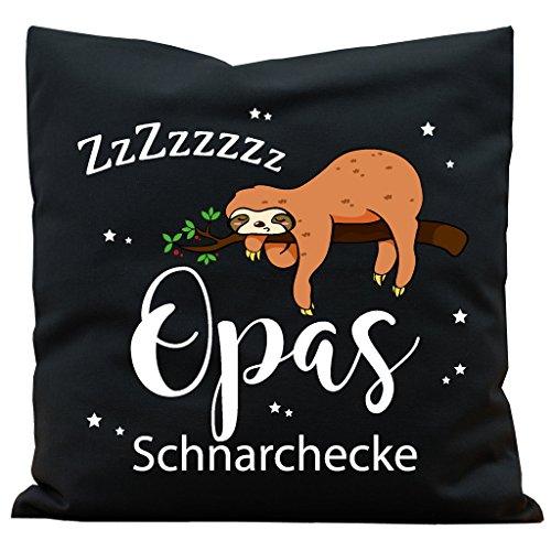 """Wandtattoo-Loft Kissen """"Opas Schnarchecke"""" Faultier Baumwolle 40 x 40 cm / 17 Stoff schwarz + Schrift weiß"""