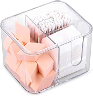 SUNFICON Cotton Balls Holder Cotton Pads Swab Holder Organizer with Lid 4-Grid Q-tip Dispenser Organizer Container Makeup Pad Box Case,Acrylic Crystal Clear