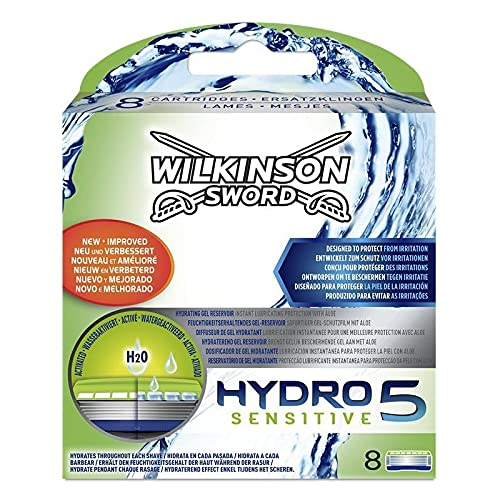 Wilkinson Sword Hydro 5 Sensitive Rasierklingen Klingen, für Herren Rasierer, 8 St