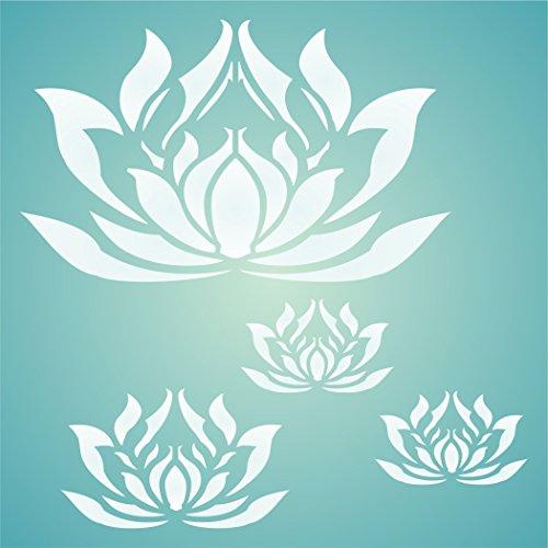 Lotus Blumen Schablone–wiederverwendbar Oriental asiatischen Lotus Blossom Floral Wandbild Wand Schablone–Vorlage, auf Papier Projekte Scrapbook Tagebuch Wände Böden Stoff Möbel Glas Holz usw, L
