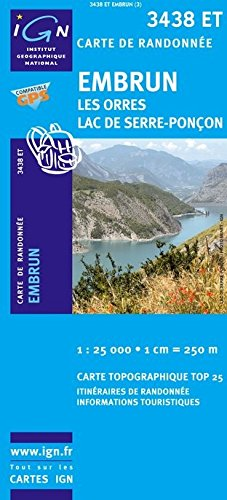 3438 ET Embrun, (französische Alpen, Hautes-Alpes / Hochalpen) Frankreich topographische Wanderkarte 1:25.000, Top 25, IGN