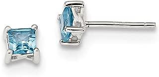 925 Sterling Silver 4mm Princess Cut Swiss Blue Topaz Stud Earrings 0.70cttw Ideal Gifts For Women