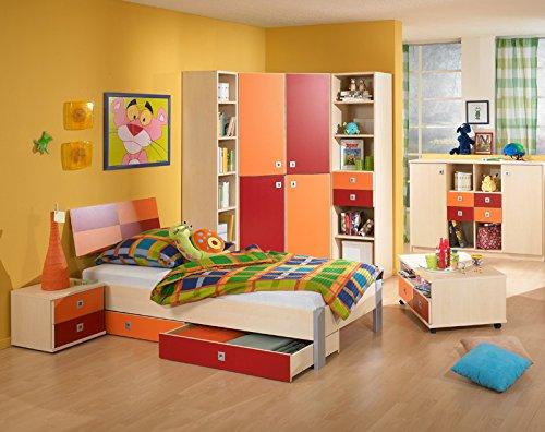 Komplett Jugendzimmer 9tlg Ahorn - orange Kinderzimmer Jugendbett Sideboard
