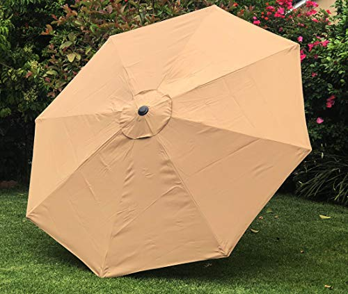 """BELLRINO DECOR Replacement TAUPE"""" STRONG AND THICK"""" Umbrella Canopy for 9ft 8 Ribs TAUPE (Canopy Only) (MEDIUM COFFEE-98)"""