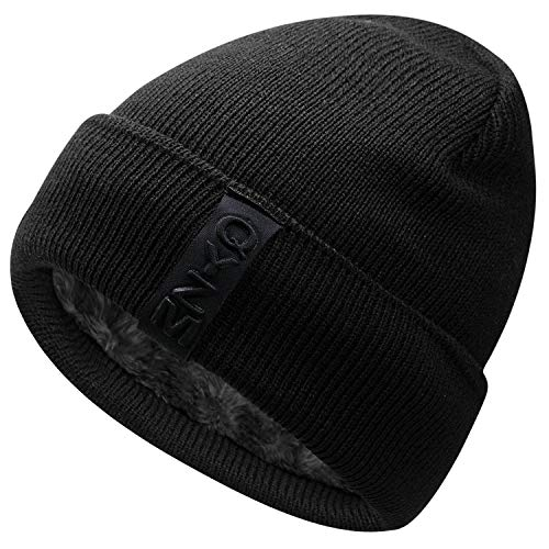 Hongtellor Knit Beanie Warm Thick Lined Hat Mens Winter Skull Cap Unisex Beanie Cap Black
