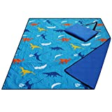 Large Waterproof Sand Proof Beach Blanket, Machine Washable Picnic Blanket,Ground/Garden Mat,Folding Outdoor Camping Mat for Kids (Dinosaur)