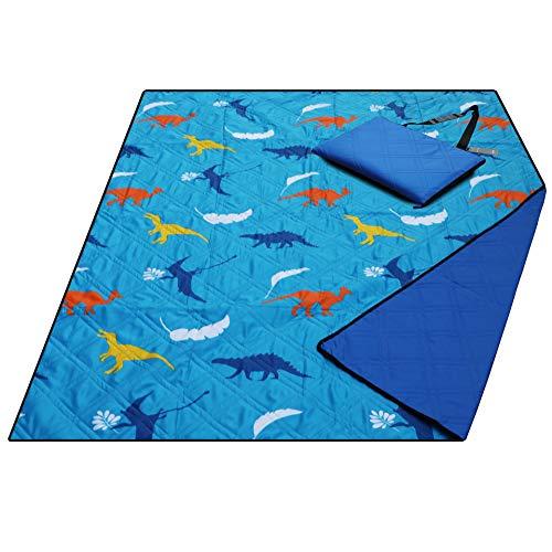 Large Waterproof Sand Proof Beach Blanket, Machine Washable Picnic Blanket,Ground/Garden Mat,Folding Outdoor Camping Mat for Kids (Dinosaur)