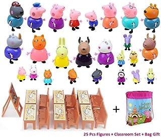 New 25 Pcs Peppa Pig Different Models Figures, Classroom Set