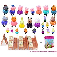 New 25 Pcs Peppa Pig Different Models Figures, Classroom Set + Bag Best Toys For Kids