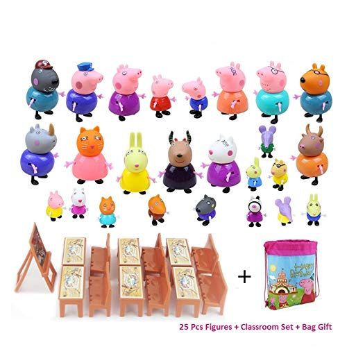New 25 Pcs Peppa Pig Different Models Figures, Classroom Set + Bag Best Toys For Kids