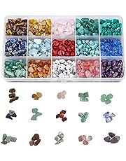 Natuurlijke chip edelsteen kralen, voor sieraden maken kits 15 kleuren losse kristalsteen kralen voor genezing sieraden maken ketting armband ring (15 kleuren)