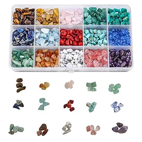 Natuurlijke chip edelsteen kralen, voor sieraden maken kits 15 kleuren losse kristalsteen kralen voor genezing sieraden…