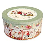 Grätz Verlag Keksdose/Plätzchendose Retro Dose für Kekse,, rund, rot, aus Blech, ca. 10,5 cm hoch Weihnachtskonditorei