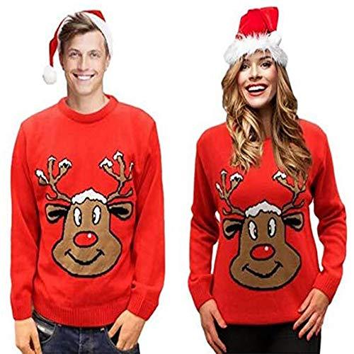 Maglione di Natale Retro Novità Renna Rosso Unisex per Uomo e Donna sorridente - S