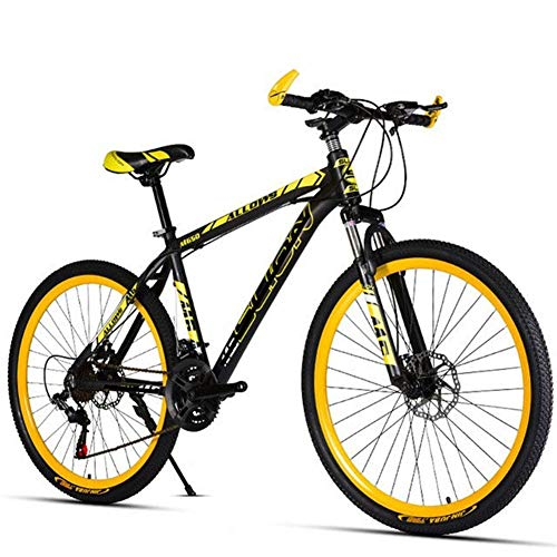XXY 21-Gang-Fahrrad Mountainbike Variable Speed Shift Doppelscheibenbremsen Alufelge Students (Color : 21 Speed Black Yellow, Size : 26 inch)