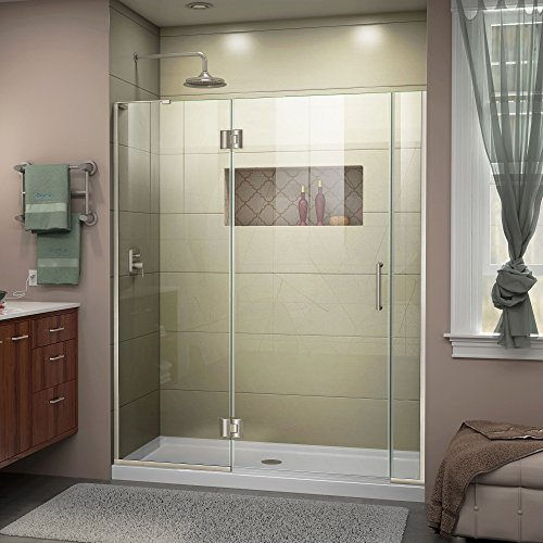 Great Price! DreamLine Unidoor-X 58-58 1/2 in. W x 72 in. H Frameless Hinged Shower Door in Brushed ...
