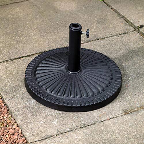 garden mile® Heavy Duty 15kg Black Garden Parasol Base Umbrella Stand Round Victorian Style Cast Iron Effect (15kg Black Round Victorian Style)
