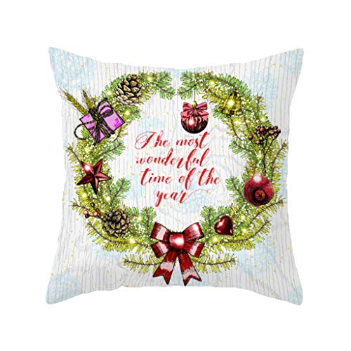 Shan-S Merry Christmas Tree Decor Throw Pillow Cases 18x18 Inch Flowers Berry Leaves Pillow Covers Cotton Linen Bells Holly Berries Red Green Xmas Snowflake Star Home Decorative Pillowcase