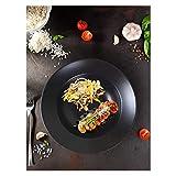 JSJJRGB Piatto da Cena Piastra di Pasta Nera Opaca 26 cm (Color : Black, Plate Size : 10.2 inç)