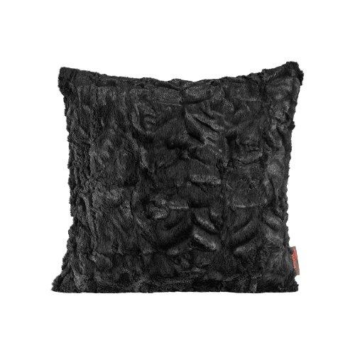 Fluffy Kissenhülle 40 x 40 cm kuschelweicher Plüsch in Felloptik (01 Schwarz) 1 Stück