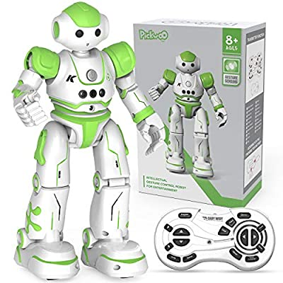 Pickwoo Robot Toy for Kids Smart Remote Control Robot Gesture Sensing Dancing Walking Intelligent Programmable Educational RC Robot Toys for 5 7 8 10-Year-Old Kids Green Robots
