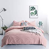 SUSYBAO 3 Pieces Duvet Cover Set 100% Washed Cotton Queen Size Coral Gingham Checked Bedding Set 1 Checkered Plaid Duvet Cover with Zipper Ties 2 Pillowcases Luxury Quality Soft Comfortable Breathable
