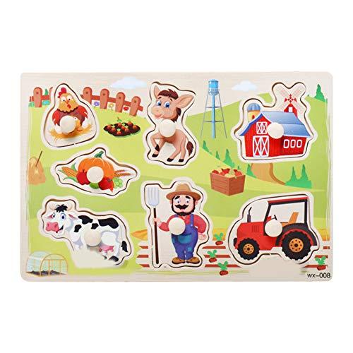Dan&Dre Holzpuzzle für Kinder, Bauernhoftier-Handgreifbrett, Puzzle mit Knöpfen, Lernspiel, Kindergeburtstags-Spielzeug, Geschenk