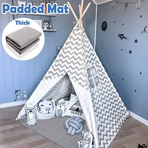 Tipi tent voor kinderen met gewatteerde mat- Speeltent voor jongen meisje binnen en buiten, grijze Chevron zware katoenen canvas tipi