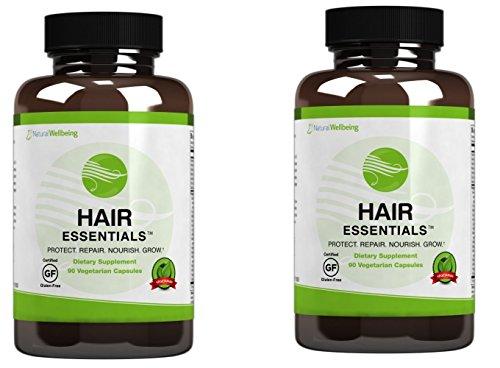 Hair Essentials Natural Hair Growth Supplement for Women and Men-All New Mega Pack- 180 Vegitarian...