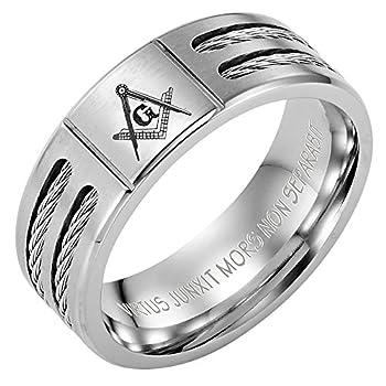 Willis Judd MasonicMan New Mens Titanium Masonic Ring Latin Engraving Inside