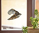 Bird - Flying Owl - Stained Glass Style See-Through Vinyl Window Decal - Yadda-Yadda Design Co. (6.75' x 5.5') (Med)