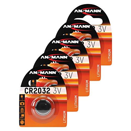ANSMANN 5x CR2032 Batterie Lithium Knopfzelle 3V / Qualitativ hochwertige Knopfbatterien / Ideal für Autoschlüssel, TAN-Gerät, Taschenrechner, Kinderspielzeug, Fernbedienung, Uhren, etc.
