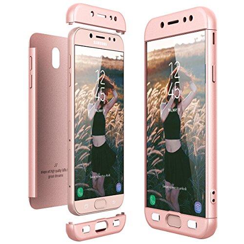 CE-Link Funda Samsung Galaxy J7 2017, Carcasa Fundas para Samsung Galaxy J7 2017, 3 en 1 Desmontable Ultra-Delgado Anti-Arañazos Case Protectora - Oro Rosa