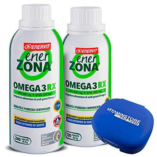 Enerzona Enervit Omega 3 RX 240 cpr + 120 cpr + pastillero Vitaminstore ● Suplemento alimenticio a base de aceite de pescado para el control del colesterol y triglicéridos ● rico en EPA y DHA