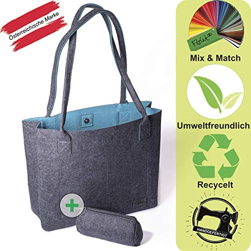 Shopper Handtasche groß Shopper Greta Einkaufstasche Damen Filztaschen Tragetasche Schultertasche, Dunkelgrau & Petrol, M (15L)