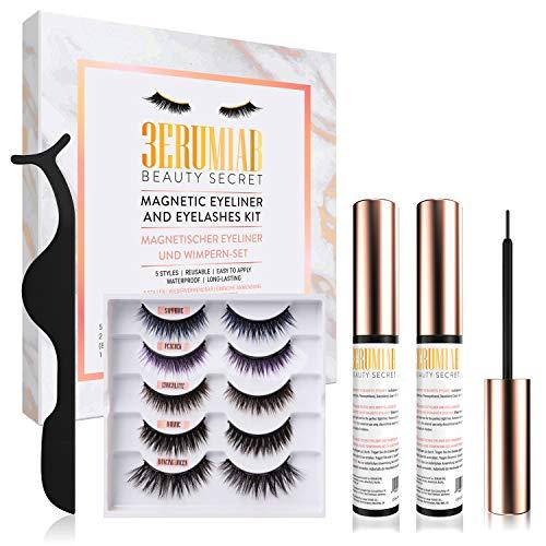 Magnetische Wimpern und Eyeliner-Kit, 3D-Set magnetische Falsch wimpern, 5 Paar wiederverwendbare, gemischtfarbige Wimpernverlängerungen, wasserdichtem magnetischem Eyeliner und Pinzette