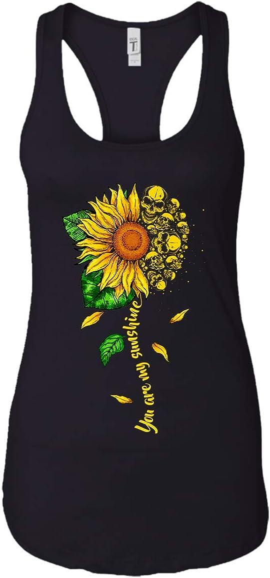 Sunflower Skull Women/'s Junior Fit Tank Top Cute Girl Skull Gift Idea
