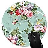 Knseva Fashion Round Mouse Pad Mat Vintage Floral Mousepad (7.87'x7.87')