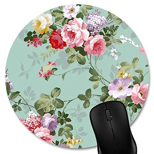 "Knseva Fashion Round Mouse Pad Mat Vintage Floral Mousepad (7.87""x7.87"")"