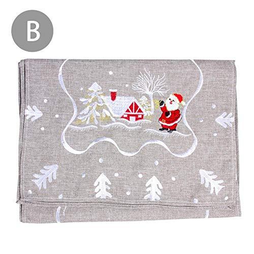 Mona43Henry Mantel de Navidad, Mantel Rectangular, Bordado de Papá Noel, Mantel de Mesa de Comedor para...