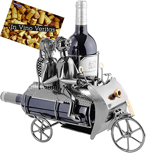 BRUBAKER Porte-bouteille de Vin décoratif - Sculpture en Métal - Idée cadeau - Couple sur la Moto avec un Chien