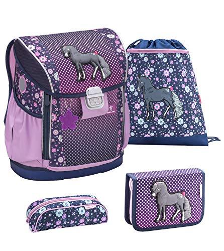 Belmil ergonomischer Schulranzen Set 4 - teilig für Mädchen 1, 2, 3, 4 Klasse Grundschule/verstellbar mit Hüftgurt und Brustgurt/lila, Purple (404-20 Black Horse)