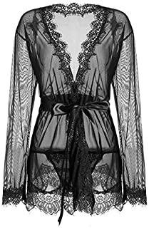 IngerT Women Nightwear Solid Color Sash Decor Transparent V Neck Long Sleeves Sexy Robe with Thong