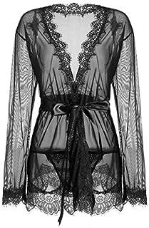 ملابس نوم للنساء من انجيرت لون واحد مزينة بتصميم ياقة على شكل حرف في، أكمام طويلة ورداء جذاب مع لباس