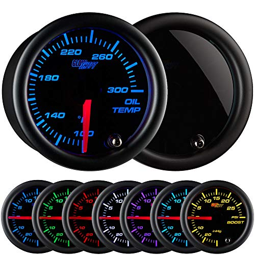 GlowShift Tinted 7 Color 300 F Oil Temperature Gauge Kit - Includes Electronic Sensor - Black Dial - Smoked Lens - for Car & Truck - 2-1/16 52mm