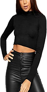 Womens Turtle Neck Tops Ladies Long Sleeve Polo Turtle High Neck Crop Top Ladies Basic Cropped T-Shirt