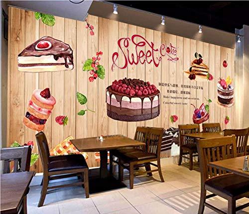 Afashiony Papel Pintado Mural 3D Personalizado Tablero De Madera Pintado A Mano Panadería Tienda Panadería Restaurante Cafetería Fondo Pared Decoración Papel Pintado-250Cmx175Cm
