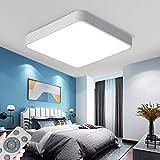 Luz De Techo LED 60W rectángulo ultrafina atenuación continua con control remoto (3000-6500K) Marco blanco simple Luz de techo para Sala De Estar Dormitorio