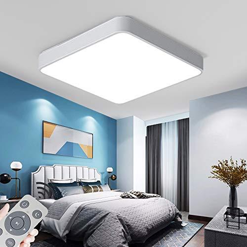 LED Deckenleuchte 60W Quadrat stufenlos dimmbar mit Fernbedienung Weiß Rahmen dreifarbig Dimmen für Schlafzimmer Deckenlampe