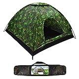 Tienda de campaña para acampar, impermeable, ligera, para 3-4 personas, protección UV, para acampar, senderismo, viajes (200 x 200 x 100 cm) (camuflaje)